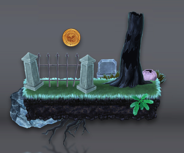 Royalty Free Game Art - Platform Set- Spooky Cemetery