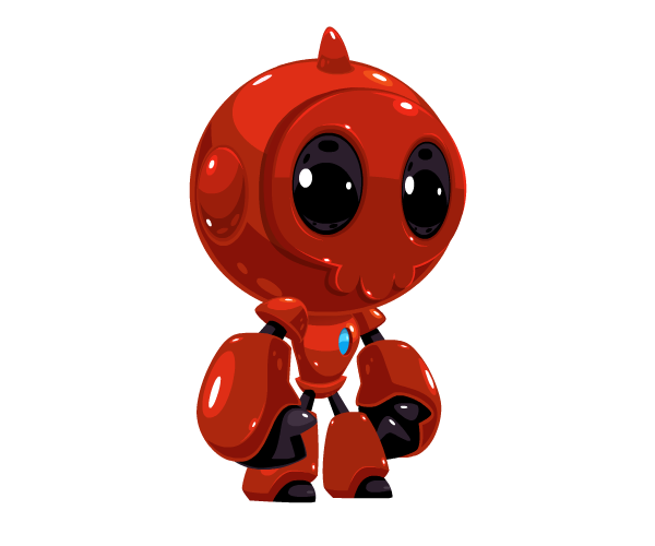 Red Bot Royalty Free Game Art Character