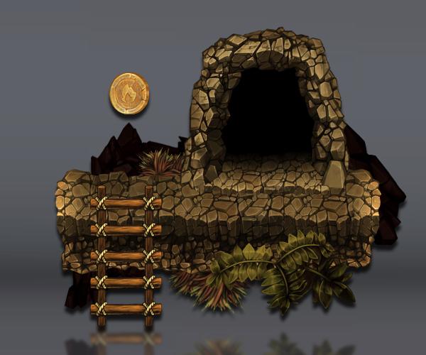 volcano platform tileset